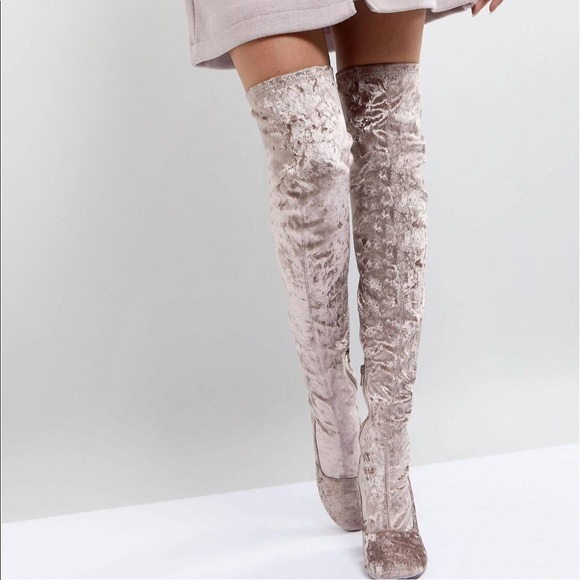 4e5271e67f5 NWT mink crushed velvet over the knee boots suede